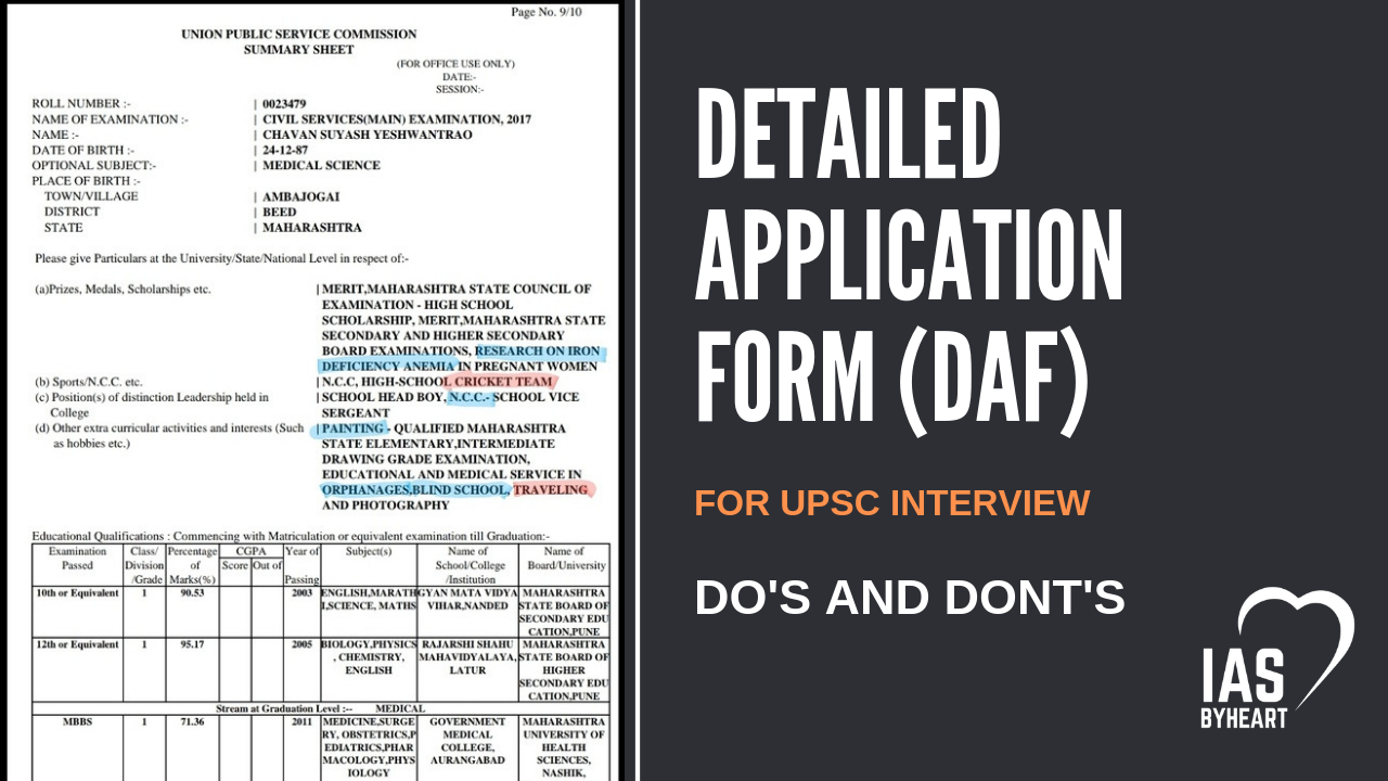 DAF for UPSC mains – Do's and Don'ts, Hobbies For Interview - IASBYHEART